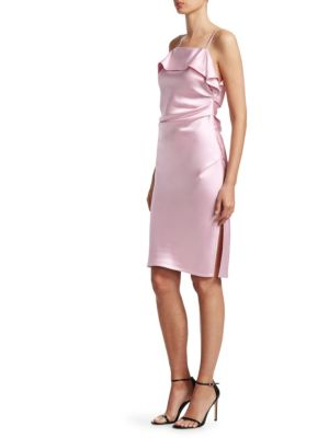 Draped Sleeveless Satin Cocktail Dress in Pink & Purple