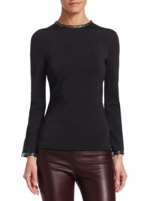 Studded High-Neck Long-Sleeve Top W/ Leather Trim, Black