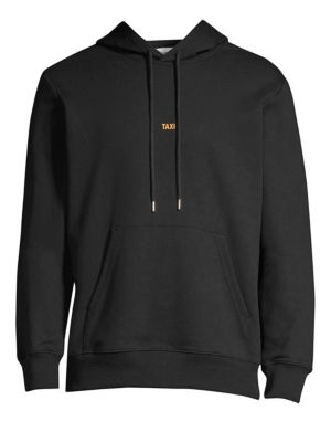 Taxi Graphic Cotton Pullover Hoodie Sweatshirt, Black