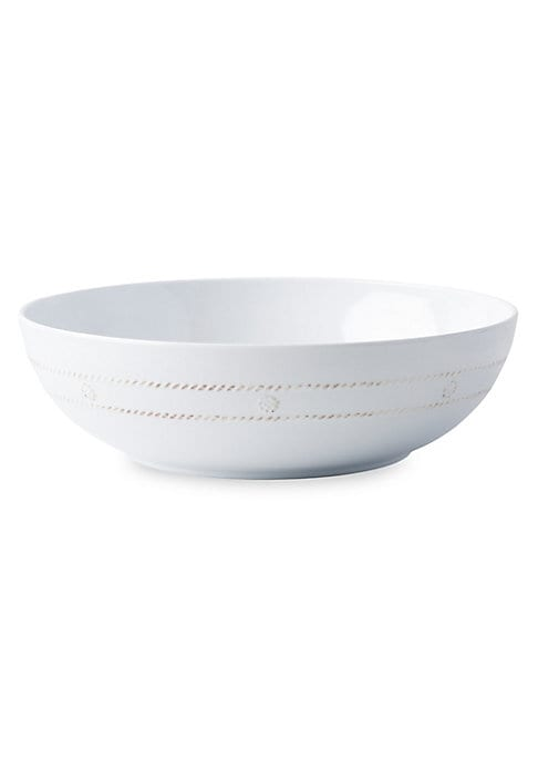 """Image of Country-style melamine bowl with subtle berry and thread detailing.3 qt. capacity. BPA-free.12""""W x 3.5""""H.Melamine. Dishwasher safe. Not oven, microwave or freezer safe. Imported."""