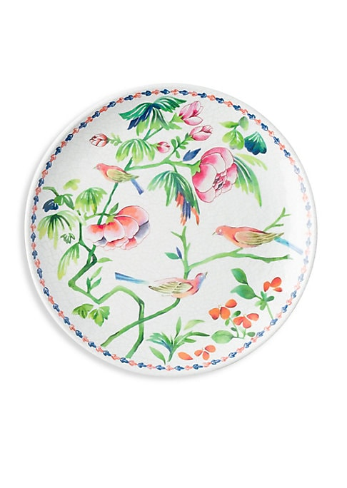 "Image of Mesmerizing floral pattern enhances melamine dessert plate. BPA-free. Width, about 9"".Melamine. Dishwasher safe. Not oven, microwave or freezer safe. Imported."
