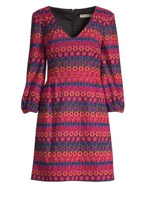 Nicole Crochet Dress W/ Bubble Sleeves in Multi