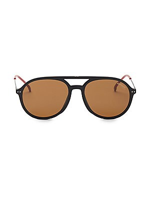 Image of Classic aviators flaunt a double bridge finish 53mm lens width; 17mm bridge width; 135mm temple length Metal/polyamide Made in Italy. Men Accessories - Men Sunglasses. Carrera. Color: Black.