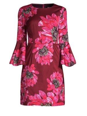 TRINA TURK Trumpet-Sleeve Sheath Dress In Macro Floral Print in Multi