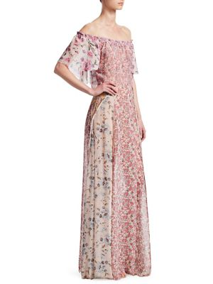 LOVESHACKFANCY Evelyn Floral Silk Maxi Dress Coverup in Multi