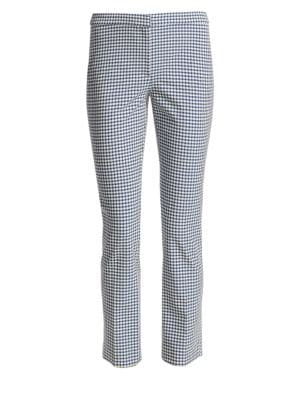 Classic Skinny Gingham Ankle Pants, Multi
