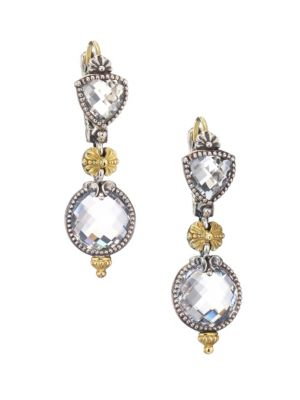 Konstantino Pythia Crystal Sterling Silver 18k Yellow Gold Drop Earrings