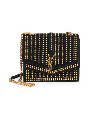 Sulpice Monogram Ysl Triple-Flap Suede Crossbody Bag - Golden Hardware in Noir