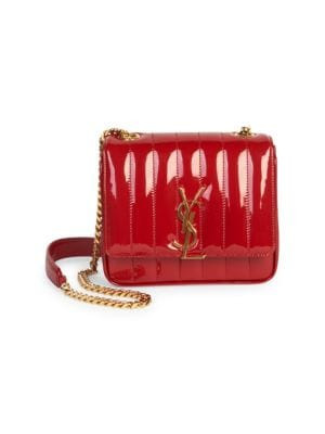 Vicky Monogram Ysl Small Quilted Patent Leather Crossbody Bag in Red