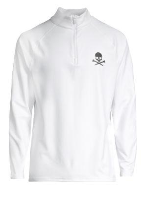 G/FORE Skull Quarter-Zip Long-Sleeve Shirt in Snow