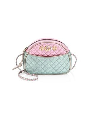 Quilted Color-Block Metallic Leather Shoulder Bag, Pink/Blue Laminated Leather