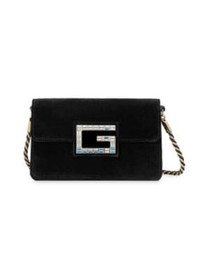 Broadway Small Velvet Shoulder Bag With Square G in Black