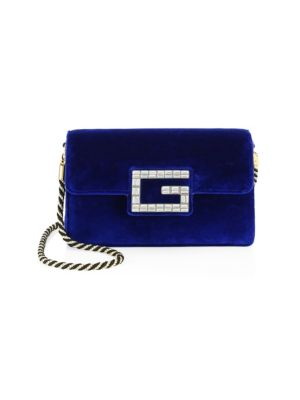 Broadway Small Velvet Shoulder Bag With Square G in Blue