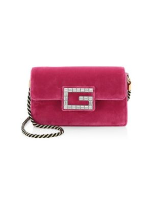 Broadway Small Velvet Shoulder Bag With Square G in Pink