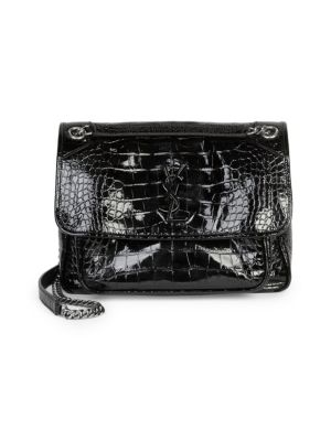 Medium Niki Croc Embossed Lambskin Leather Shoulder Bag - Black, Noir