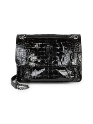 SAINT LAURENT Medium Niki Croc Embossed Lambskin Leather Shoulder Bag - Black, Noir