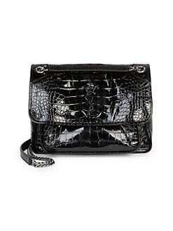 54b8b934b7c Saint Laurent. Medium Niki Croc-Embossed Leather Shoulder Bag