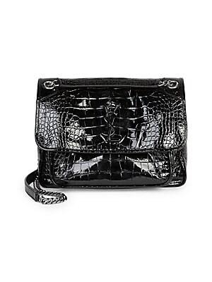 a6f02b0730b Saint Laurent - Medium Niki Croc-Embossed Leather Shoulder Bag - saks.com