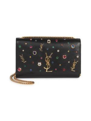 Kate Monogram Ysl Medium Jewel-Stud Chain Shoulder Bag, Noir Multi