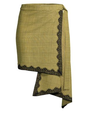 Wrap Plaid Asymmetrical Skirt, Black Yellow
