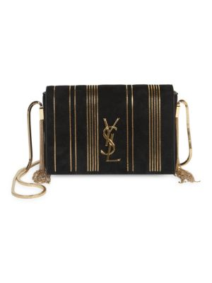Kate Monogram Ysl Small Suede Tassel-Side Chain Crossbody Bag in Black