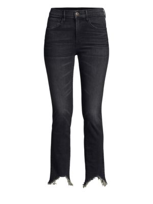 Elise Authentic Straight Crop Jeans in Black