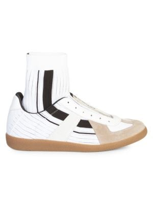 Replica Sock High Top Leather Sneakers by Maison Margiela