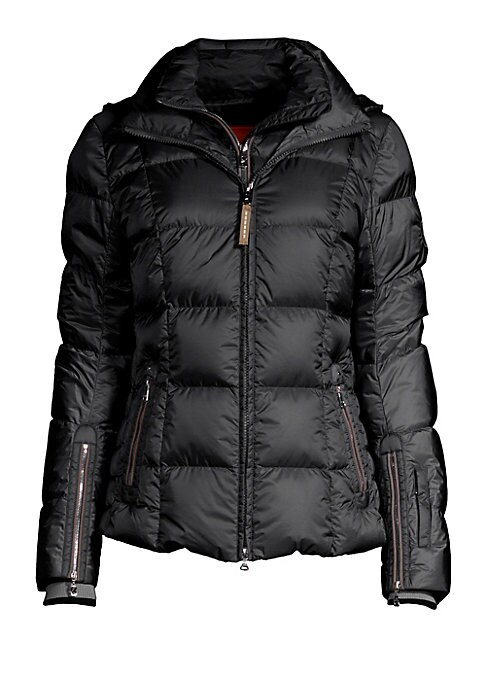 """Image of Lightweight quilt jacket with contrast piping detail. Stand collar. Attached hood. Long sleeves. Ribbed zip cuffs. Sleeve zip pocket. Double zip front. Side zip pockets. Lined. About 25"""" from shoulder to hem. Polyamide. Dry clean. Imported. Model shown is"""