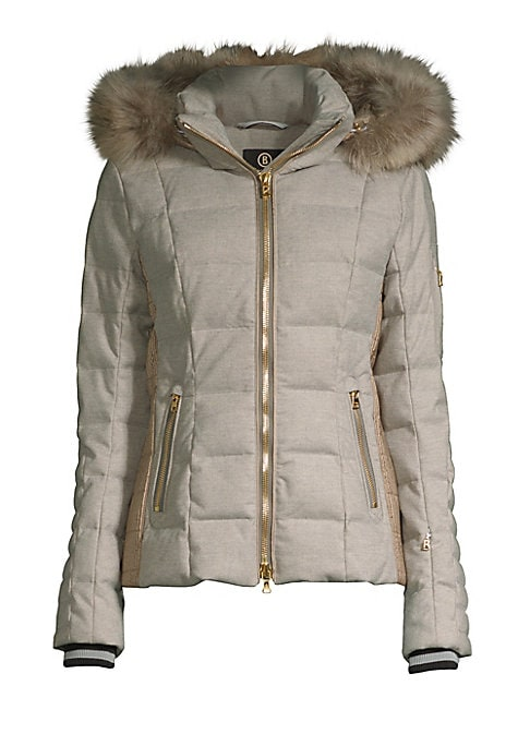 """Image of Slim quilted down coat with cozy fur-trimmed hood. Stand collar. Zip-off hood with fur trim. Long sleeves. Ribbed cuffs. Two-way zip front. Two sleeve zip pockets. Waist zip pockets. Slim fit. About 22"""" from shoulder to hem. Polyester/viscose/wool/elastan"""