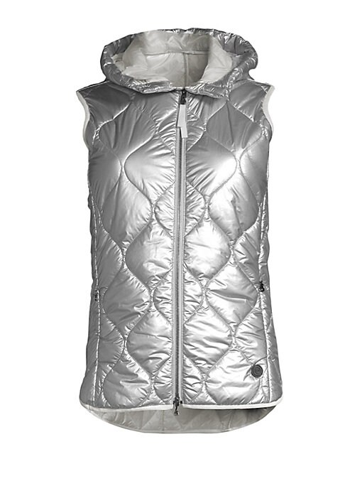 """Image of Plush quilted vest with a metallic finish. Attached hood. Sleeveless. Zip front closure. Waist zip pockets. About 24.5"""" from shoulder to hem. Polyamide. Machine wash. Imported."""