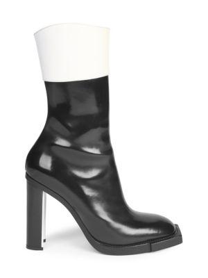 Leather Block-Heel Booties, Black