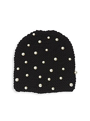"""Image of Knit beanie flaunts sophisticated imitation pearls. Alpaca/Swarovski pearls Dry clean Made in USA of imported fabric SIZE 8.5""""W x 10""""L. Soft Accessorie - Cold Weather Accessories. Jennifer Behr. Color: Black."""