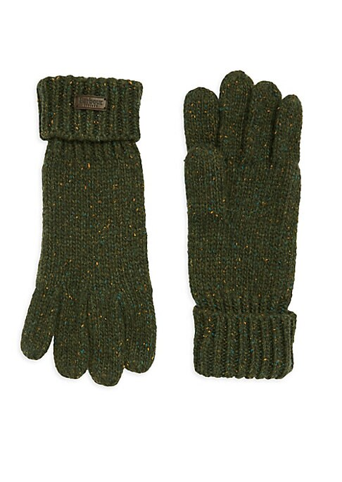 Image of Chunky gloves knit in neppy yarn with turn-back cuff and external branding. Wool/nylon. Hand wash. Imported.