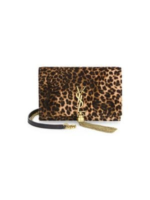 Small Kate Leopard Print Velour Chain Crossbody Bag - Brown, Black Multi