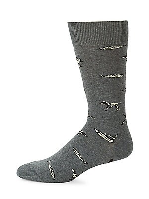 Image of A lightweight cotton mix sock featuring instarsia knitted animal motifs inspired by the countryside. Jacquard logo accent Cotton/polyamide/elastane Machine wash Made in Portugal. Men Luxury Coll - Seasonal Classifications > Saks Fifth Avenue. Barbour. Col
