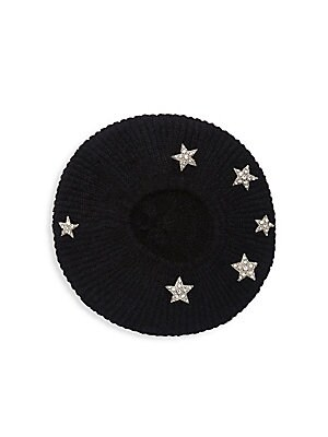 "Image of Embellished star detail elevates mohair beret. Mohair/plastic/cotton Dry clean Made in USA of Italian fabric SIZE 10""W x 10""L. Soft Accessorie - Cold Weather Accessories. Jennifer Behr. Color: Black."