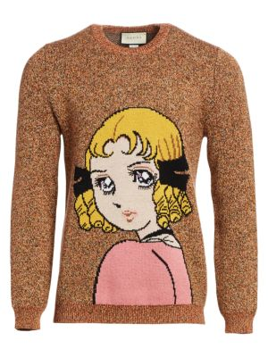 Oversized Intarsia Mélange Wool Sweater, Multicolor Mouline Wool