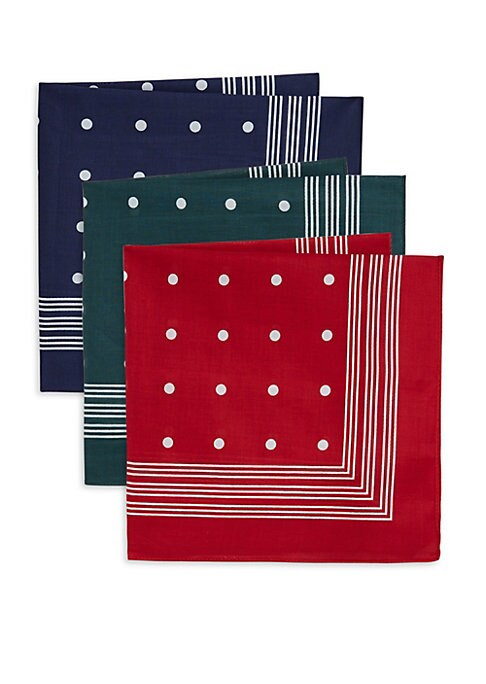 "Image of From the Classic Accessories Collection. Boxed set of three timeless cotton hankies in solid colors with contrast detailing. Cotton. Machine wash. Imported. SIZE.20""W x 20""H."