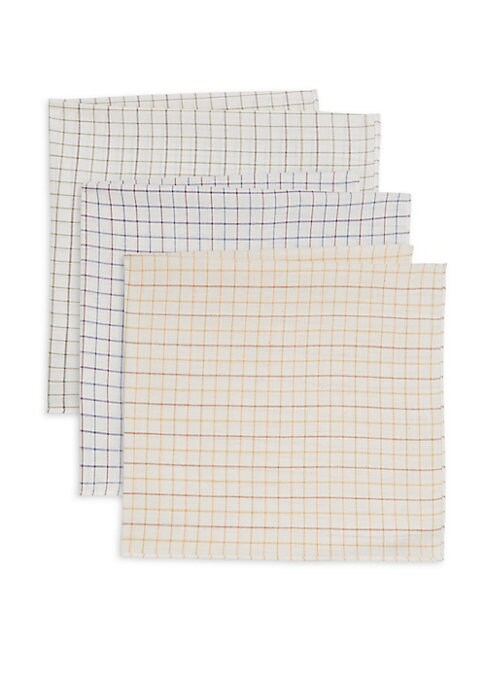 "Image of From the Classic Accessories Collection. Boxed set of three cotton hankies patterned with different colored checks. Cotton. Machine wash. Imported. SIZE.20""W x 20""H."