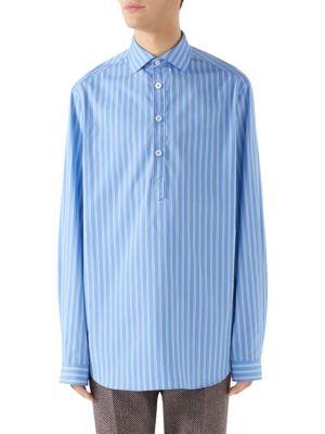 Striped Cotton Poplin Tunic - Blue Size 52 Eu