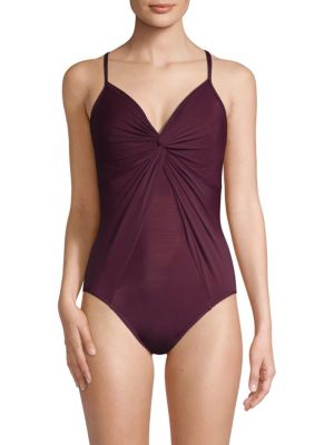 MIRACLESUIT SWIM Rock Solid Love Knot One-Piece Swimsuit in Shiraz
