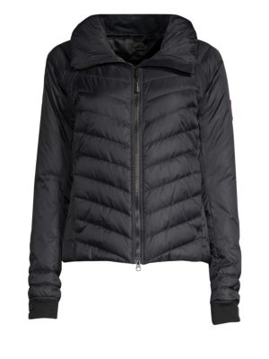 Hybridge Base Hooded Quilted Shell Down Jacket, Black