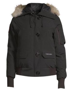 CANADA GOOSE Chilliwack Down Bomber Jacket W/ Fur Hood in Black