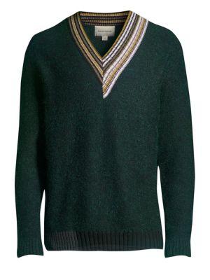 SOLID HOMME Multi-Stripe V-Neck Sweater in Green