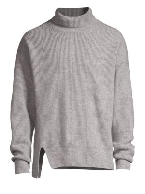 SOLID HOMME Stretch Wool Turtleneck Sweater in Grey