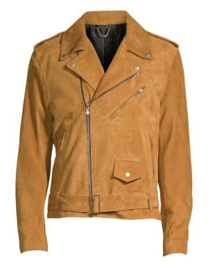 SOLID HOMME Suede Moto Jacket in Tan