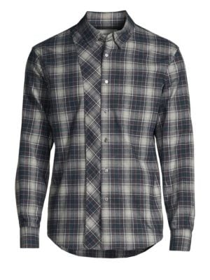 SOLID HOMME Multi-Plaid Button-Down Shirt in Black Grey