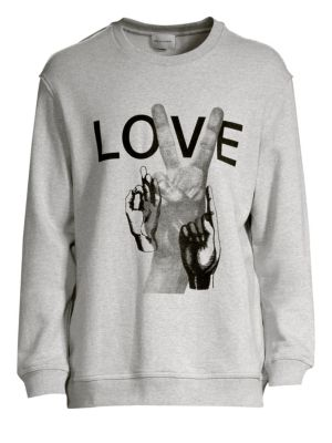 SOLID HOMME Love Print Cotton Sweatshirt in Grey