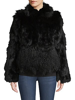 """Image of Luxurious fur jacket in cropped silhouette Fold-over collar Long sleeves Concealed closure About 30"""" from shoulder to hem Body and sleeve fur type: Dyed fox Body and sleeve fur origin: China Collar fur type: Dyed rabbit Collar fur origin: China Hem and cu"""