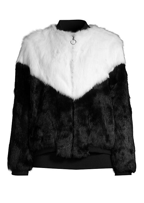 "Image of Fur varsity jacket in bold colorblock design. Stand collar. Long sleeves. Zip-front. About 20"" from shoulder to hem. Fur type: Dyed rabbit. Fur origin: China. Dry clean by fur specialist. Imported. .Model shown is 5'10"" (177cm) wearing US size 4. ."